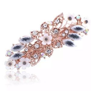 Gorgeous resin & CZ hair clip in rose goldtone